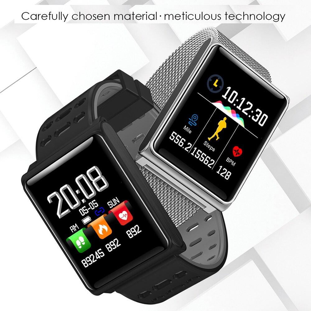 Montre intelligente de Bluetooth de Bracelet de traqueur de forme physique de Bracelet intelligent d'affichage à cristaux liquides de couleur N98