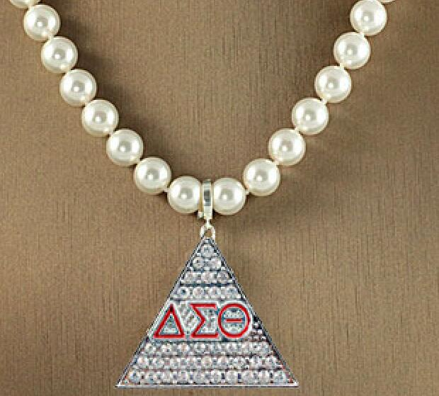 DST Pearl Necklace Silver Gold Tone Delta Sigma Theta Jewelry