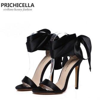 Prichicella Модные Черные Атласные босоножки с ремешком на щиколотке высокий каблук модельные туфли натуральная кожа Летние туфли-лодочки