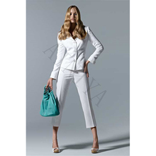 Jacket+Pants White Women Business Suits Slim Fit Knee-length Pants Three Buttons Office Suits For Women Formal Ladies pantsuit