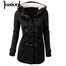 Huation Hooded Wool Blend Parkas Women Warm Coats Long Parka Ox Horn Leather Buckle Tops Winter Jackets Cotton Outwear XGC7785