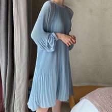 LANMREM 2020 새로운 한국어 여름 패션 여성 의류 휴가 드레스 랜턴 슬리브 풀오버 루즈 한 시폰 드레스 Pleated WG686