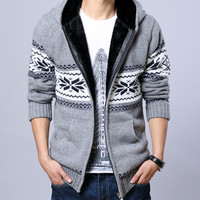 2015 Men Fleece Hooded Knit Sweaters Christmas Snowflake Mens Thick Sweater Zipper Cardigan Jacket 13M0212