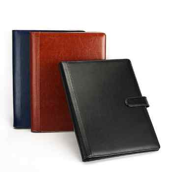 PU Leather A4 Business Contract Clip File Folder Notebook Briefcase Padfolio Layout Document Organizer Bags With A4 Memo Note