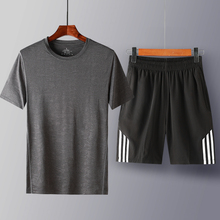 men t-shirts 2019 summer Casual Suit Sportswear tracksuit two piece set fitness suits Brand Clothing plus size 7XL 8XL