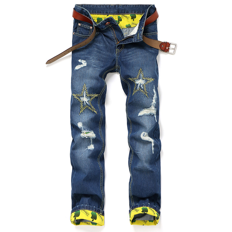 Fashion distressed Mens Biker Jeans Pants star picture Slim Fit Pleated Motorcycle Denim Joggers Male Cargo