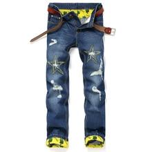 Мода проблемных Мужские Байкерские Джинсы Брюки звезда картины Slim Fit Плиссированные Мотоцикл Джинсовые Бегунов Мужчины Грузовые Штаны OE010