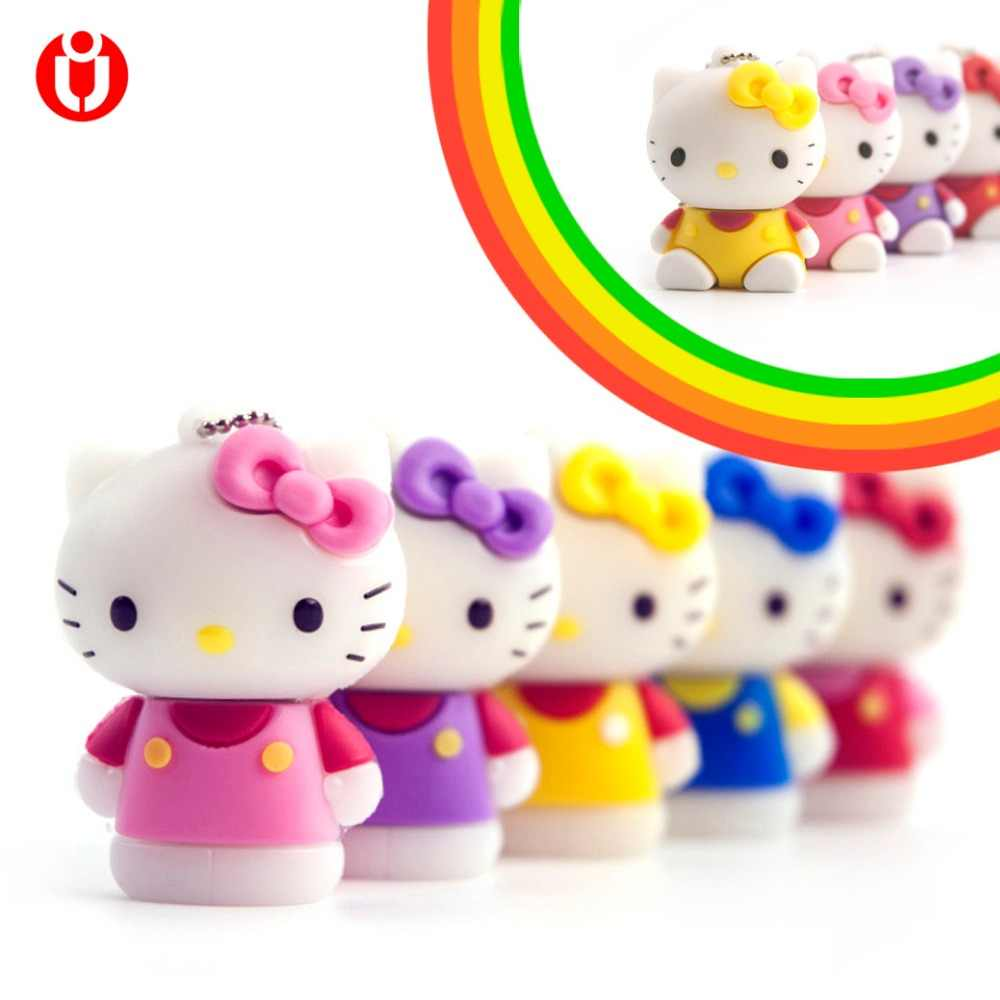 Criativo usb pendrive 128 gb, olá Kitty Usb Flash Drive gb gb Pendrive Pen Drive 64 64 8 gb gb 32 16 gb Dos Desenhos Animados U disk Memory stick