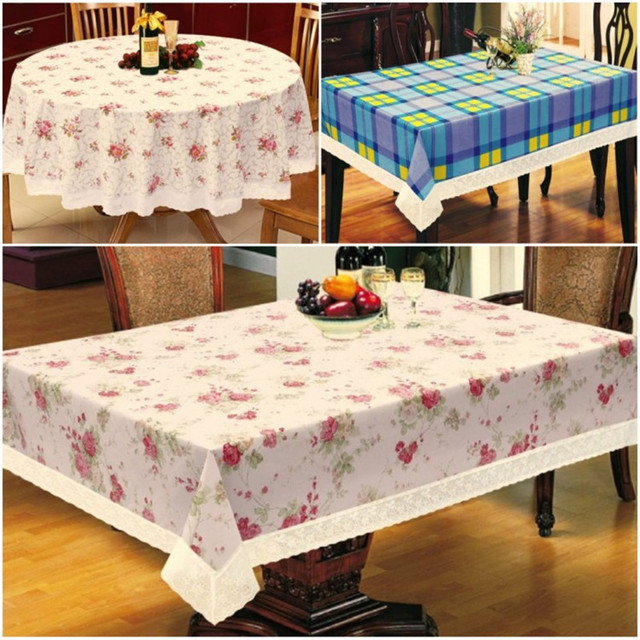 Charming 1Pcs Printing Lacework PVC Waterproof And Oil Proof Ironing Thicken Table  Cloth European Rural Style Non