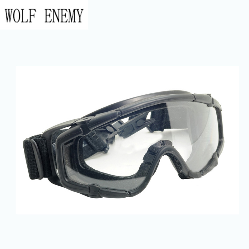 Black Skiing Sports & Paintball Airsoft Glasses Anti Fog Ballistic Goggles for Helmet