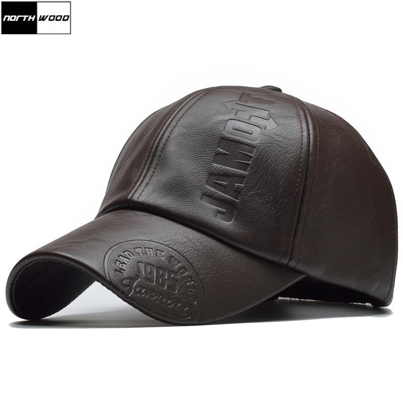 [NORTHWOOD] New High Quality Winter Cap PU Leather Baseball Cap Men Snapback Hat Casquette Gorras Para Hombre Mens Trucker Cap
