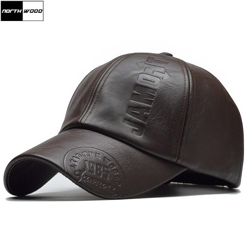 [NORTHWOOD] 2018 High Quality Winter Cap PU Leather Baseball Cap Men Snapback Hat Casquette Gorras Para Hombre Mens Trucker Cap