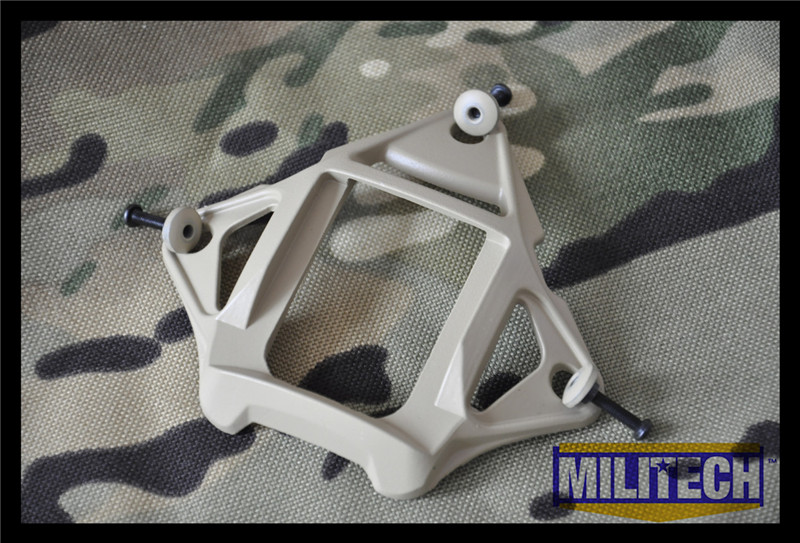 MILITECH DE Tan Color Aluminum Skeleton Shroud MARSOC WARCOM Night Vision 3 Holes Goggle Mount Base NVG Ops Core Skeleton Shroud militech coyote brown cb color aluminum shroud marsoc warcom night vision 3 holes goggle mount base nvg ops core skeleton shroud