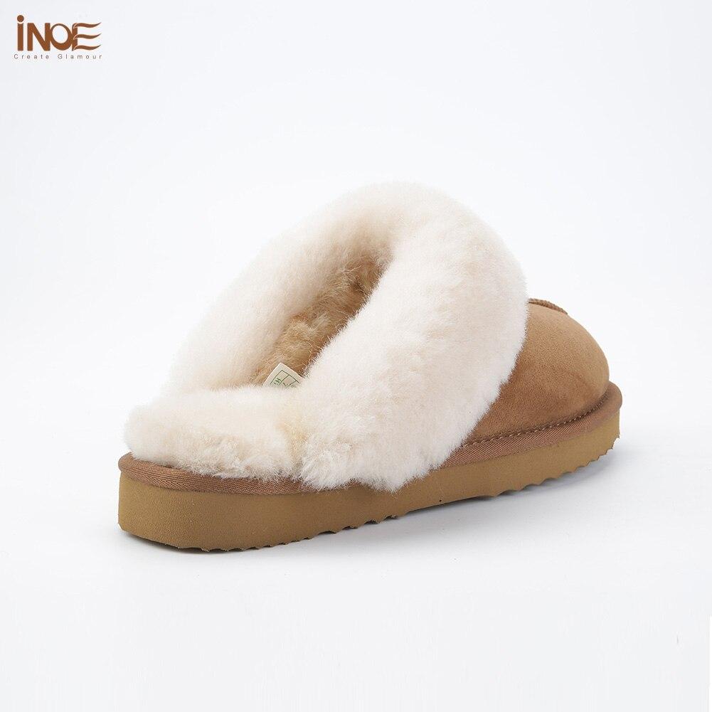 INOE en peau de mouton en cuir doublé de fourrure femmes maison chaussures pantoufles d'hiver en suède intérieur maison chaussures pour femme demi pantoufles de haute qualité - 3