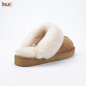 Image 3 - INOE kożuch zamszowe futro naturalne podszyte kobiety kapcie zimowe kapcie domowe kapcie wewnętrzne dla kobiety ciepłe klapki