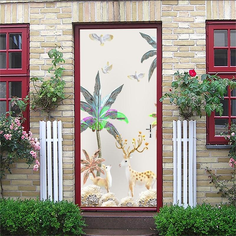 100% Wahr Vertraglich Tür Sticks Design Von Blatt Von Kolorierte Zeichnung Oder Pattern3d Tür Sticks Diy Von Stick Tür Schlafzimmer Tür Ist Dekoriert