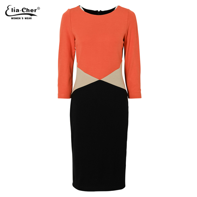 Elegant Color-block Round Neck Long Sleeve Wear to the Office Dress