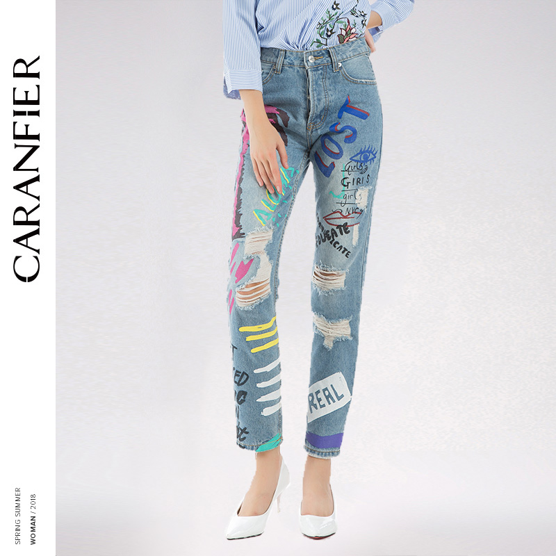 Mujeres Pantalones Denim Primavera Femenina Caranfier Hole Nuevas Jeans Mujer Straight Desgastado Ripped Pies Vaqueros wzq5Tx8z