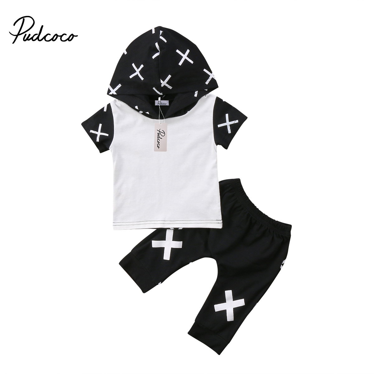 2018 Brand New 2pcs Toddler Infant Newborn Kid Baby Boy T-shirt Hooded Tops Shorts Pants Casual Summer Outfit Cotton Clothes Set newborn baby boy girl 5 pcs clothing set cotton cartoon monk tops pants bib hats infant clothes 0 3 months hight quality