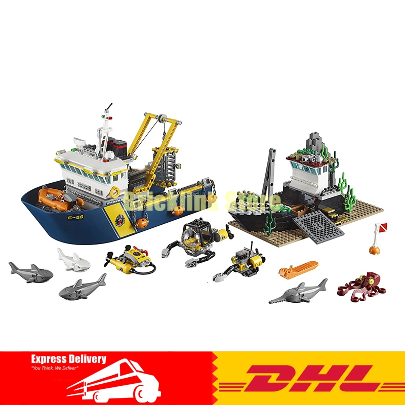 Lepin 02012 774Pcs City Series Deep Sea Exploration Vessel Building Blocks Compatible 60095 Brick Toy sermoido 02012 774pcs city series deep sea exploration vessel children educational building blocks bricks toys model gift 60095