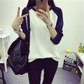 Nuevo 2016 color floja delgada de manga larga T-shirt chica chaqueta de cuello alto femenino
