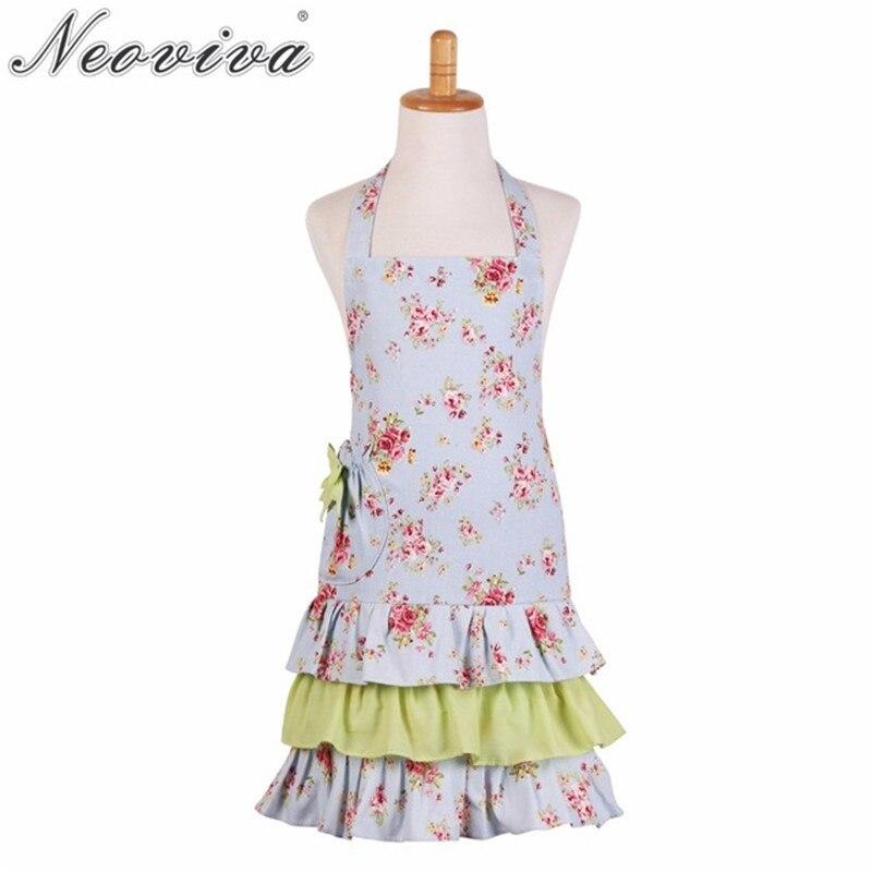 Neoviva Flirty Women Apron for Kitchen with Pocket Doris Plus Size Available Floral Ballad Blue Green Ruffle Apron Dress Tablier