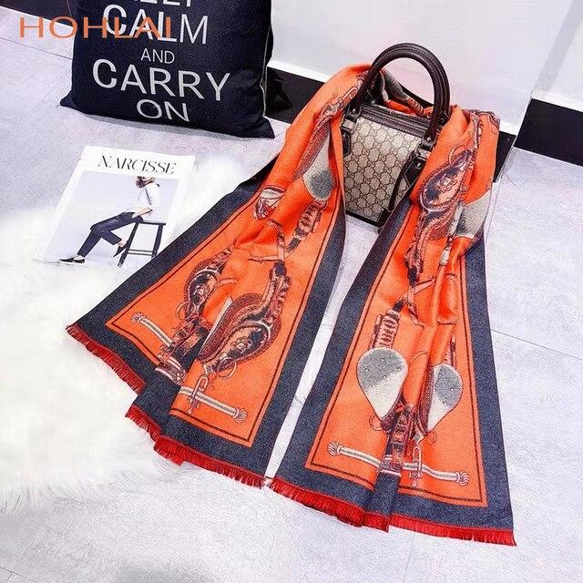 ラグジュアリーブランドオレンジキャリッジチェーンプリントカシミヤスカーフの女性のスカーフの女性の首のファッションショールラップ暖かい冬 hijabblanket