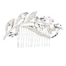 Leaves rhinestone hair comb bride jewelry
