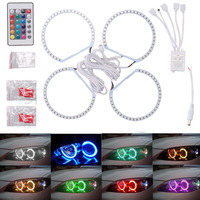 4X 131MM 5050SMD Multi Color RGB LED Angel Eyes 1992 2006 For BMW E36 E46 E39 E38 3 5 7 Series Halo Ring Kit Headlights