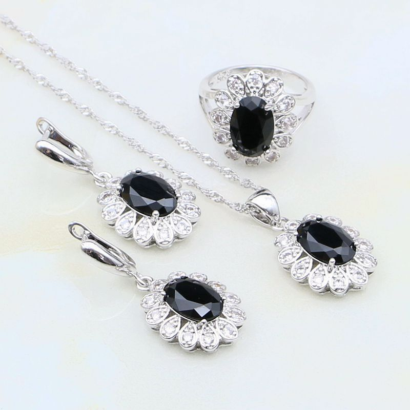 925 Silver Jewelry Black Australian Crystal White Zircon Jewelry Sets For Women Anniversary Earrings/Ring/Pendant/Necklace