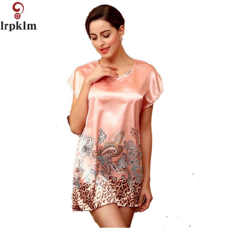 2017 Women Sleepshirts Sleepwear Round Neck Printed Nightdress Women Nightgowns Lingerie Bath Robes Mini Dress SY79