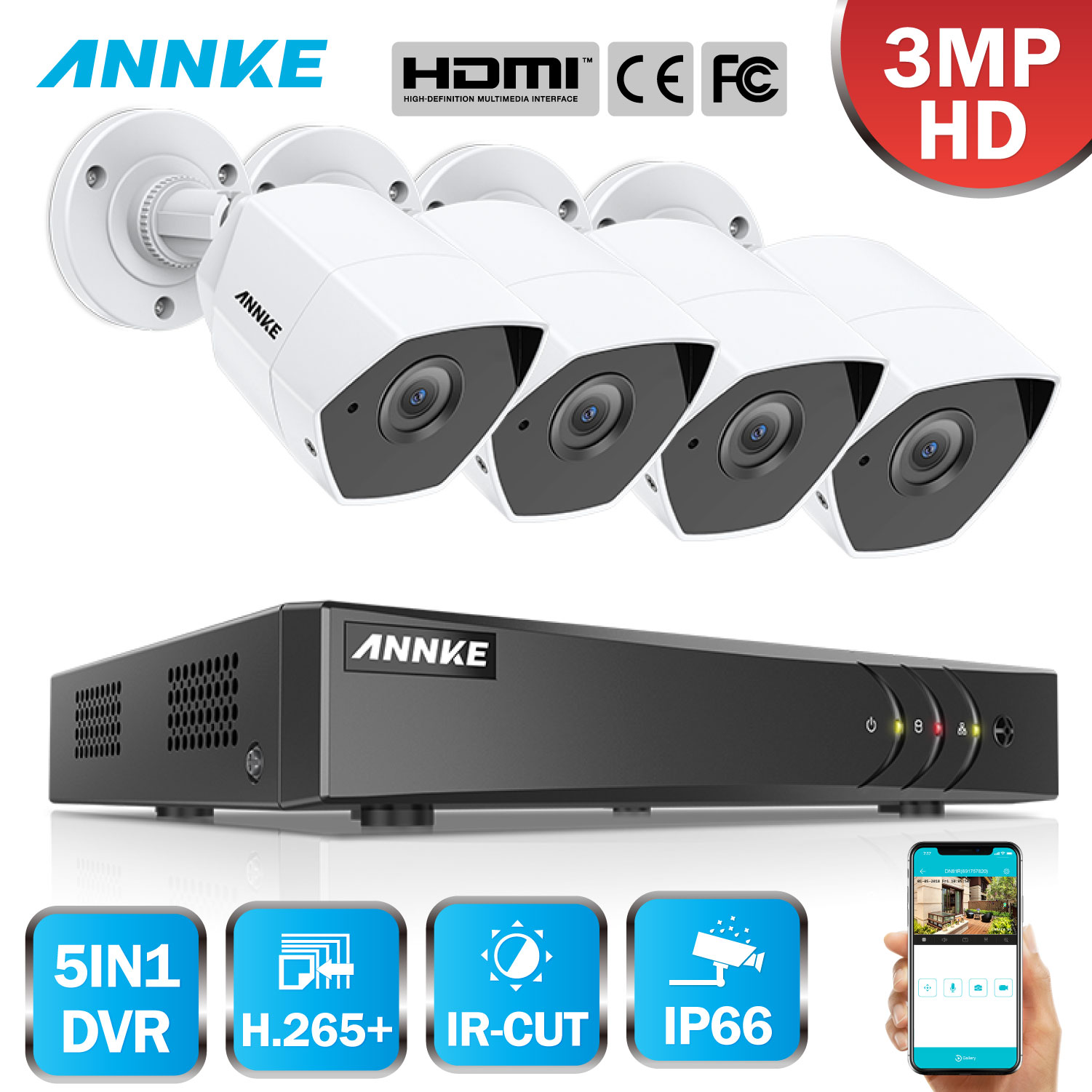 ANNKE FHD 8CH 3MP 5in1 Security DVR System CCTV Kit 4pcs Weatherproof Outdoor Surveillance Bullet Camera