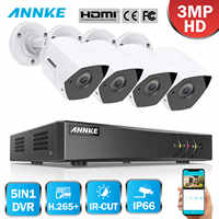 ANNKE FHD 8CH 3MP 5in1 Security DVR System CCTV Kit 4pcs Weatherproof Outdoor Surveillance Bullet Camera Surveillance System Kit