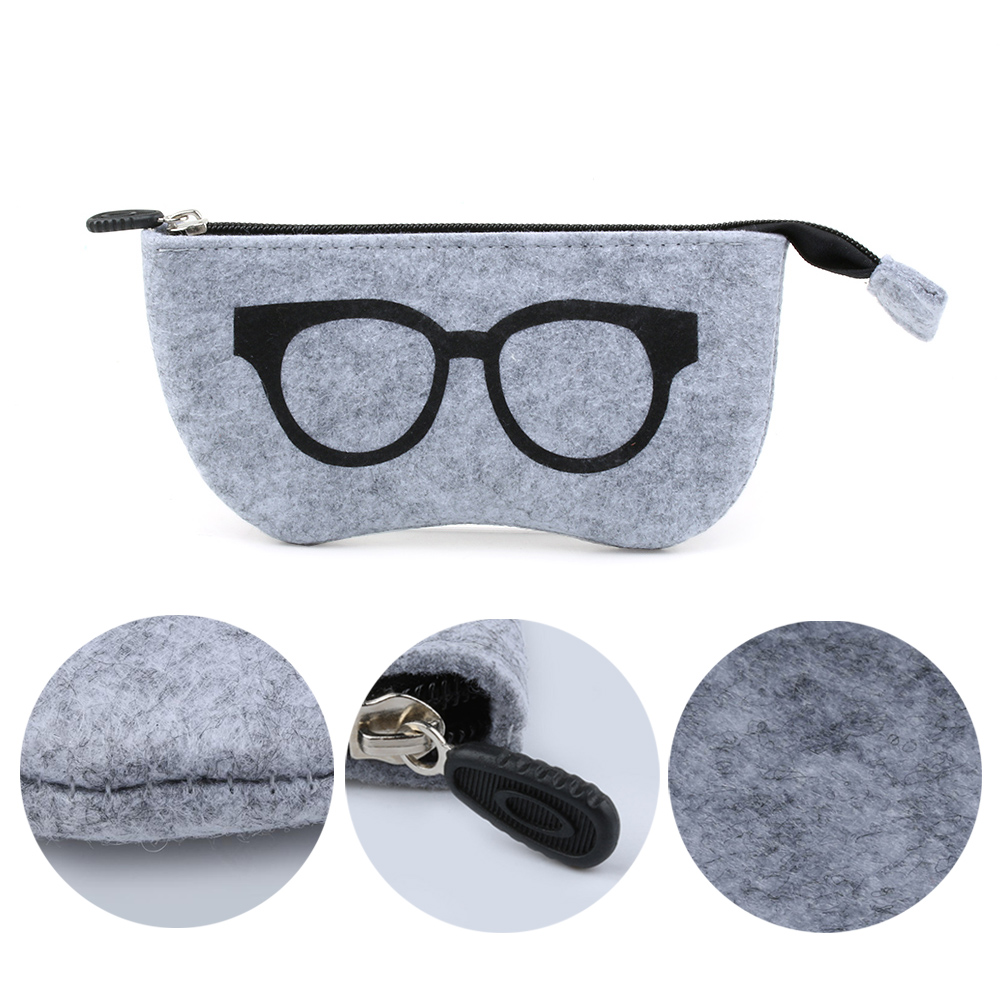 Women's Glasses Felt Zipper Eye Glasses Sunglasses Case Pouch Bag Box Storage Protector Eyewear Accessories Fun Pattern Sunglasses Storage Bag