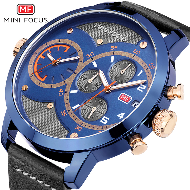 Minifocus Military Sports Watches For Men Leather Clock Big Double Dial Quartz Watch Men Relogio Masculino De Luxo Wristwatches sonex потолочный светильник sonex provence brown 203