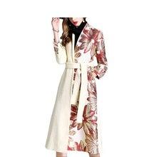 Women woolen coat 2018 new women's thick lengthened coats winter fashion flower embroidered woolen coat long women woolen coat