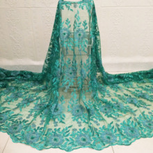 luxury african sequence embroidery shiny lace fabrics for beautiful women wedding party dress