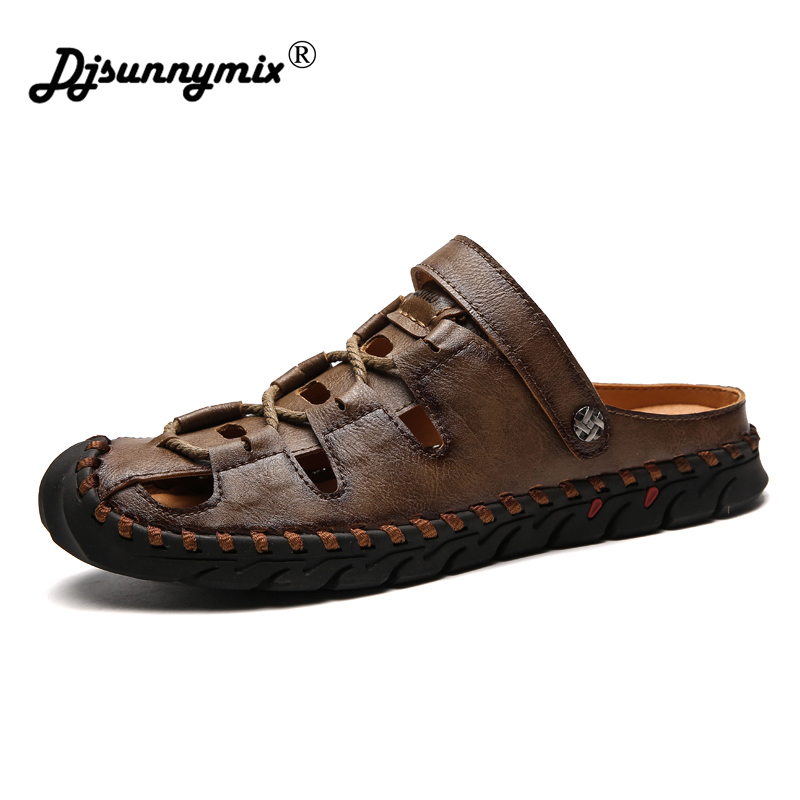 DJSUNNYMIX Mens Sandals PU Leather Summer Slipper 2018 New Beach Men Casual Shoes Outdoor Sandals Walking Sandals for Man