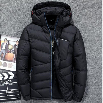 Men Fashion Brand Down Jacket 2018 Winter Down Coat Parka White Duck Down Short Section Thickening Business Jackets Coat Hood