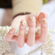 Fascinating white waterproof wedding dress dismantling girl wear nail patch manicure
