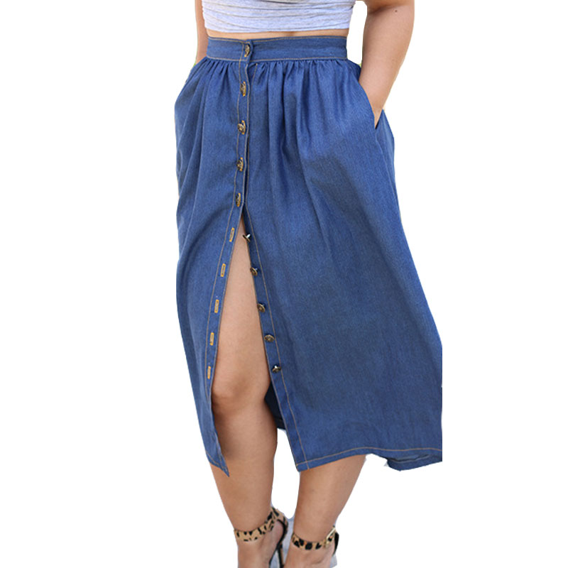 Online Shop Spring Summer Women Midi Denim Skirts 2016 Maxi Casual ...