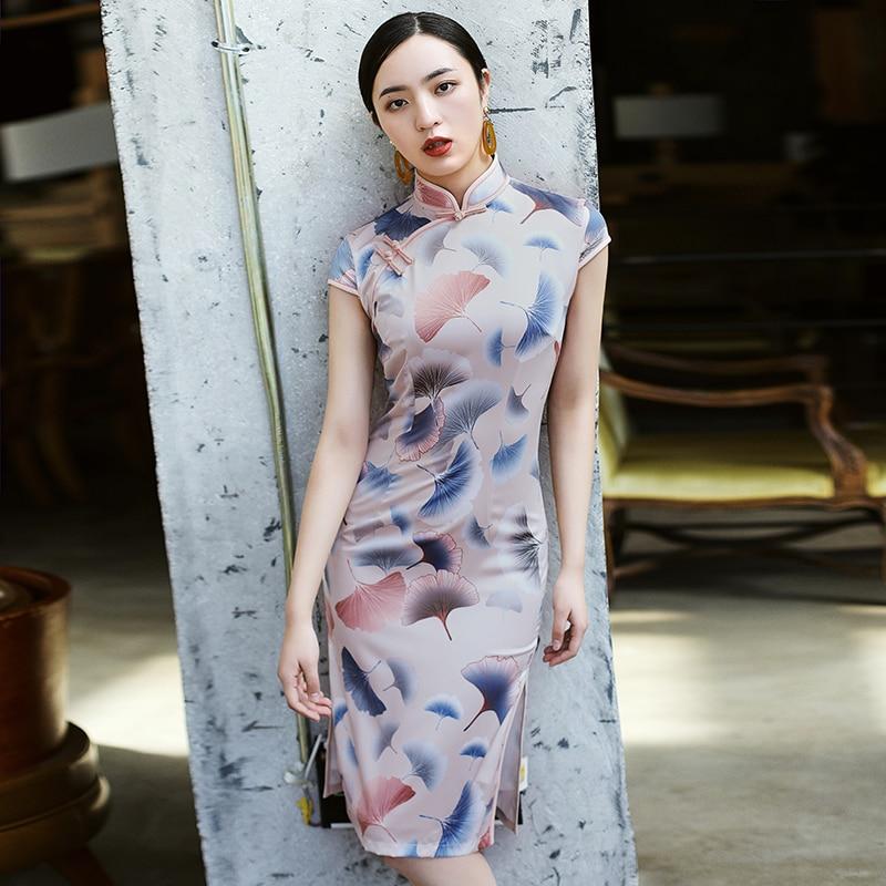 Printemps été femmes grande taille Sexy robe chinoise Madanrin rétro Cheongsam robe fendue moulante robe élégante chi-pao Vestidos