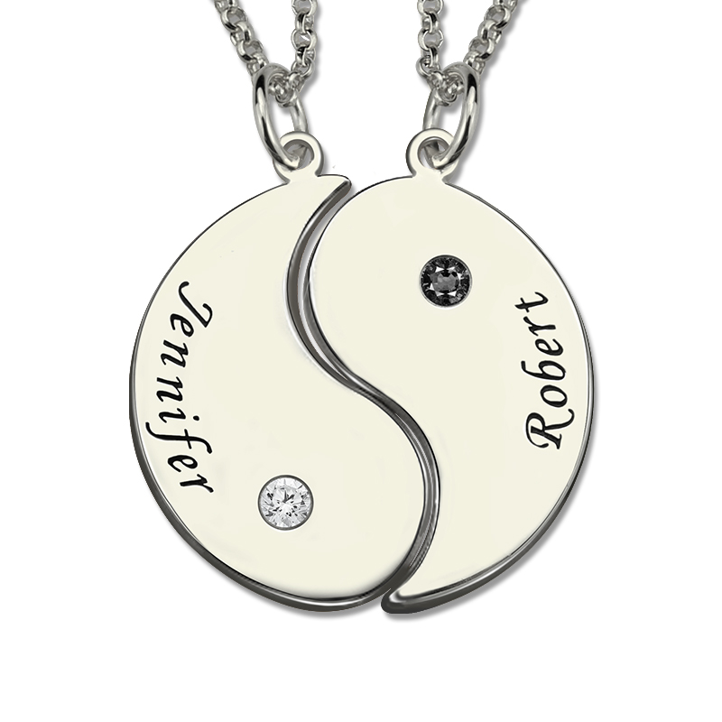 AILIN Sterling Silver Yin Yang Necklace Engraved Couple Name Pendant Yin Yang Valentine's Day Gift цена и фото