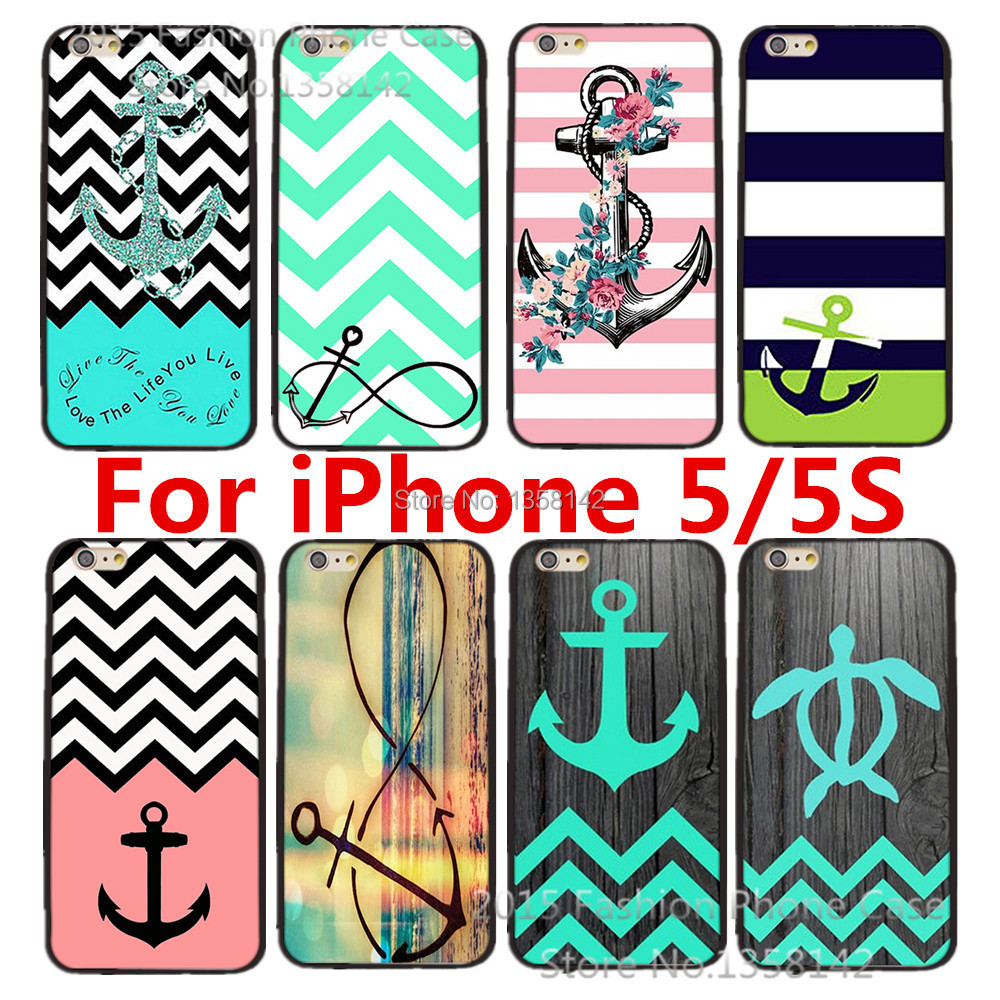 Cartoon Cute Stripe Anchor Print Hard Case Apple iPhone 5 5S SE Cell Phone Protective Cover 1 piece - HongKong Five-A Group Co.,Ltd store