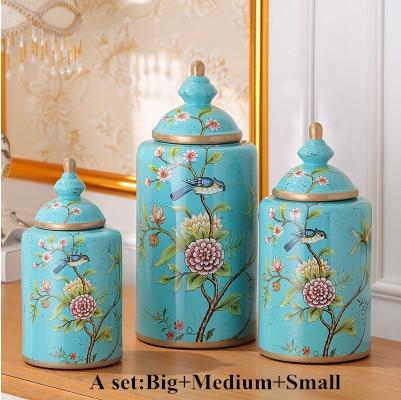 Chinese Flower Bird Pattern Ceramic Small Medium Lamp Base Handmade Rustic Fashion Lighting Parts Mfdzset