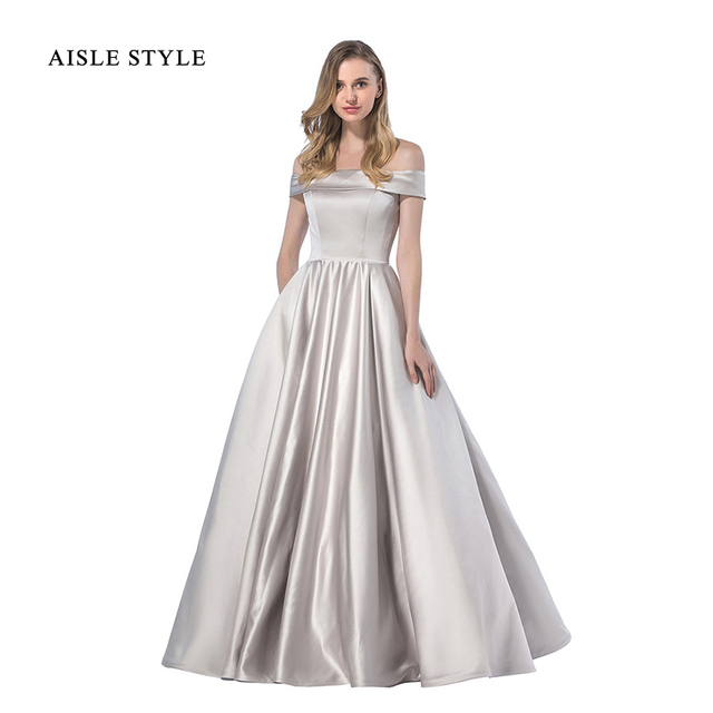 Aisle Style Ball Gown Bridesmaid Dresses Simple Plain Long Winter Wedding Off Shoulder Dress In