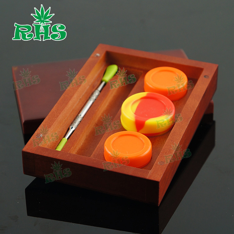 FDA approval food grade silicone concentrate container dab wax bho oil shatter storage jar with wood box holder and dabber tool