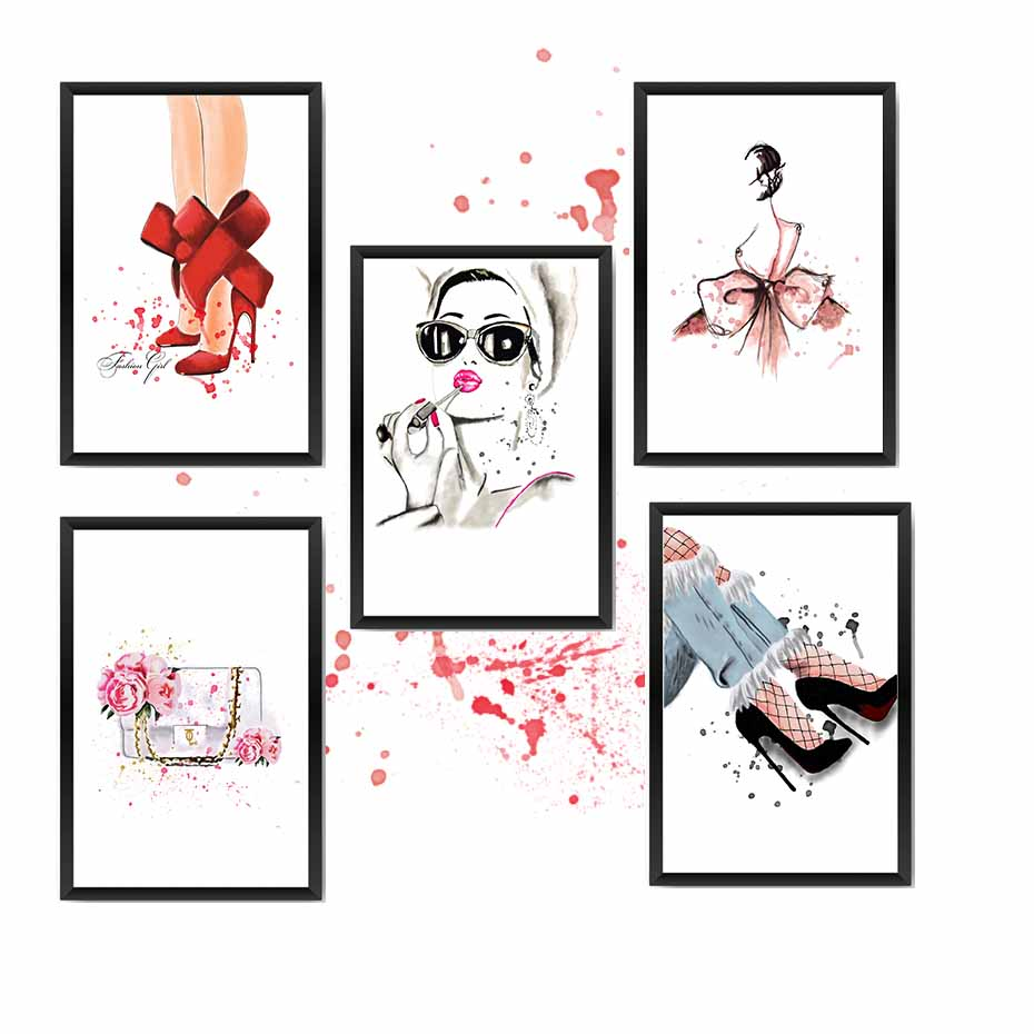 Fashion Lady Poster/&Prints For Girl Dressing Room Wall Picture Canvas Painting