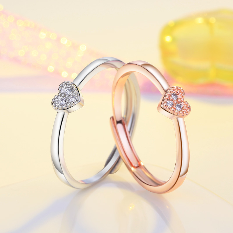 Fashion rose gold & Silver colour heart love wave rings for women Adjustable Engagement Finger cz zircon ring ladies jewelry