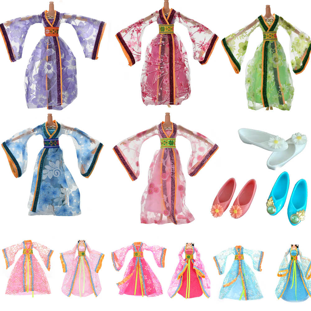 2019 New Fashion Chinese style Clothing Gown For for Barbie Doll Multi-colored Handmake Wedding Dress Dolls Accessories